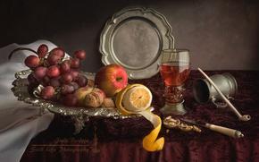 Picture lemon, glass, Apple, tube, grapes, fruit, nuts, still life, tray