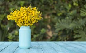 Picture wood, blue, flowers, vase