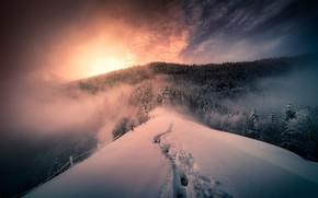 Wallpaper winter, mountains, fog