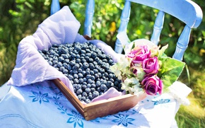 Picture flowers, berries, picture, summer, still life, fresh, painting, still life, blueberry, blueberries, berries