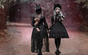 Wallpaper road, style, hats, two girls, gesture, in black, dresses, photographer Svetlana Nicotine, Mila Rogova, Kate ...