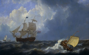 Picture oil, picture, canvas, seascape, Johannes Christian Hotel, Ships in a Stormy Sea