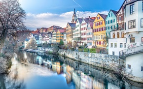 Picture reflection, river, building, home, Germany, promenade, Germany, Baden-Württemberg, Baden-Württemberg, Tübingen, Tübingen, the Neckar river, Neckar …