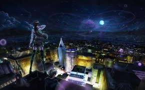 Wallpaper clouds, stars, girls, the sky, night, the moon, the city, anime, home, guy, art