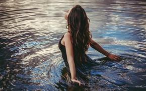 Picture pose, mood, model, dress, brunette, in the water, Aurela Skandaj