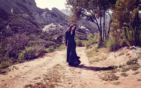 Picture road, trees, mountains, stones, valley, figure, dress, brunette, hairstyle, beauty, Sunny, the bushes, nature, posing, …