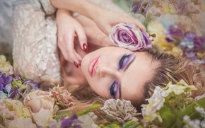 Picture girl, flowers, face, mood, rose, texture, makeup, Magdalena Kozłowicz