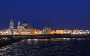 Picture sea, night, lights, home, Spain, Cadiz