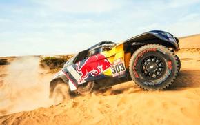 Picture Sand, Auto, Machine, Peugeot, Lights, Red Bull, Rally, Dakar, Dakar, SUV, Rally, Sport, The front, …
