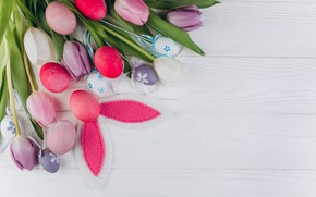 Picture flowers, eggs, Spring, Easter, White background, tulips, Holiday, ears
