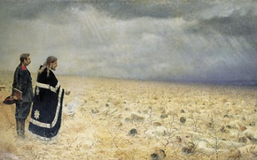 Picture oil, canvas, Service. 1877-1878, Defeated, (1842 — 1904)., Vasily (Vasilyevich) VERESHCHAGIN
