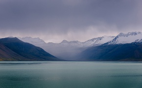 Picture sea, mountains, clouds, overcast, coast, Iceland