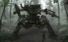 Picture machine, people, robot, jungle, Junta Saw Walker