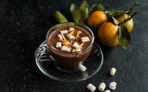 Picture drink, tangerines, hot chocolate, peel, marshmallows