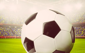 Picture the ball, football, the game, tribune, sport, closeup, bokeh, stadium, greens, field, grass, lawn
