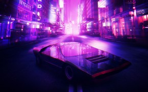 Wallpaper The city, Neon, Machine, Background, Alfa Romeo, Synthpop, Darkwave, Synth, Retrowave, Carabo, Synthwave, Synth pop, ...