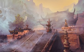 Picture fantasy, temple, ancient China