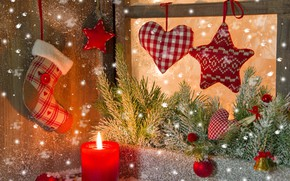 Picture background, holiday, Christmas, candle, spruce, New year, decoration