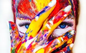 Wallpaper paint, fingers, girl, hand, face, eyes