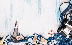 Picture background, mesh, shell, binoculars, boat, Morska Zvezda, sea