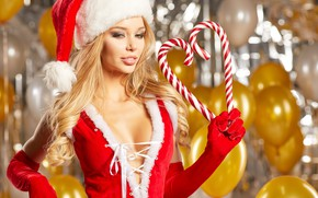 Picture sexy, mood, holiday, hat, new year, Christmas, makeup, hairstyle, blonde, sweets, gloves, maiden, beauty, in …