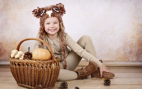 Picture smile, child, girl, pumpkin, sitting, basket, bumps, decor
