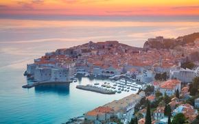 Picture sea, landscape, home, glow, Croatia, Dubrovnik