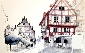 Picture the city, figure, France, home, watercolor, Colmar