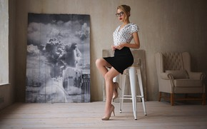 Picture girl, Model, blouse, legs, photo, photographer, blue eyes, figure, lips, face, interior, sensual, blonde, glasses, …