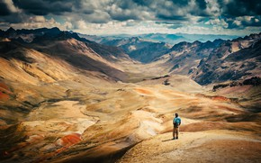 Picture clouds, the sun, mountains, Peru, view, people, gorge