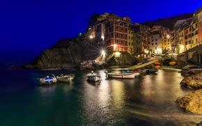 Picture night, lights, home, Italy, Riomaggiore, The Ligurian coast
