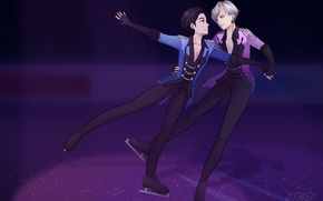 Picture anime, art, Yuri on Ice, Yuri on the ice, Viktor Nikiforov, Yuri Katsuki
