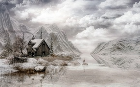 Picture winter, the sky, clouds, mountains, house