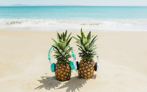 Wallpaper sand, sea, beach, summer, stay, headphones, summer, pineapple, happy, beach, vacation, sea, headphones, sand, funny, ...