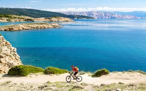 Wallpaper bike, mountains, island, Croatia, helmet, sport, backpack, shore, Bay, t-shirt, shorts, the sun, cyclist, gloves, ...
