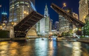 Picture Night city, River, Bridge, Night lights, Building, Skyscrapers