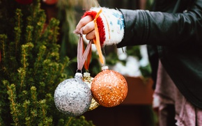 Picture balls, balls, new year, hand, decoration, Christmas