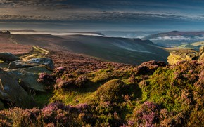 Picture grass, the sun, clouds, mountains, stones, field, valley, panorama, UK, Derwent Edge