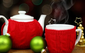Picture decoration, balls, tea, New Year, kettle, Christmas, Cup, happy, Christmas, New Year, Merry Christmas, Xmas, ...