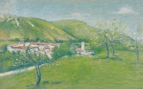 Picture landscape, picture, Achille Lauge, Achilles Box, View Jinal-Les-Bains