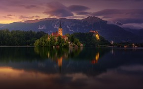 Wallpaper summer, clouds, mountains, lake, the evening, morning, Bled, Bled lake, Church Of The Assumption Of ...
