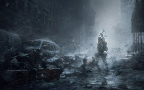 Picture Winter, Game, Snow, The building, Soldiers, Weapons, Ubisoft, Game, Tom Clancy's The Division, TheVideoGamegallery.com