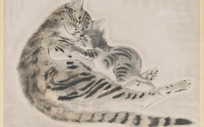 Picture kindness, tenderness, 1929, Tsuguharu, Fujita, etching and aquatint in color, Cat and kitten