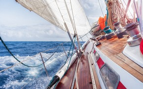 Wallpaper yacht, tourism, ship, course full course, the wind track, squirt, sea, wave, summer, horizon, sky, ...