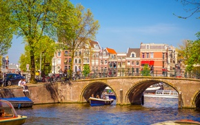 Picture bridge, river, spring, Amsterdam, bridge, Amsterdam, old, spring, buildings, Netherlands, canal