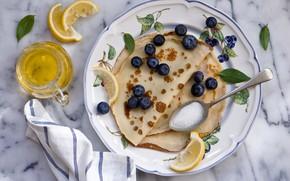 Picture berries, food, blueberries, pancakes, Anna Verdina, lemon slices