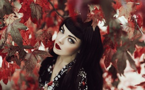 Picture leaves, model, brunette, face, look