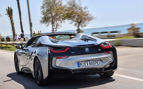 Picture road, the sky, grey, movement, coast, BMW, Roadster, rear view, hybrid, 2018, i8, i8 Roadster