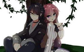 Picture girl, tree, anime, guy, two