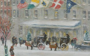 Picture winter, snow, picture, flag, the urban landscape, Guy Carleton Wiggins, The Plaza Hotel